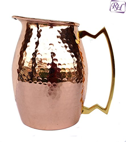 Rastogi Handicrafts Pure copper Hammered Jug NEW Heavy Gauge Pure Solid Hammered Copper Moscow Mule Water Pitcher