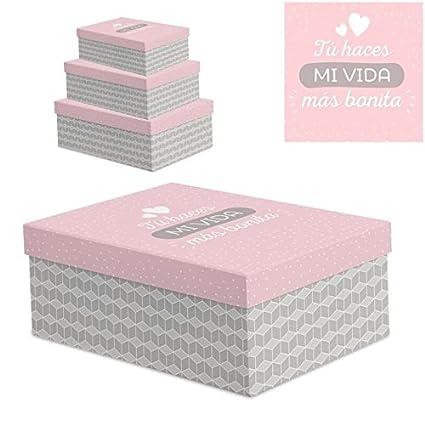 348f0a13c Juego 3 cajas regalo diseño frases