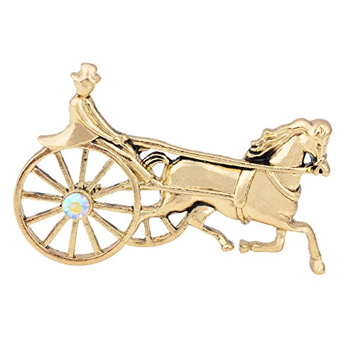 OBONNIE Vintage Gold Silver Tone Crystal Enamel Horse and Carriage Buggy Pin Brooch Lapel Pin (Gold)