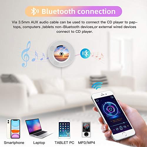 Tragbarer CD Player Bluetooth an der Wand montierbaren mit Fernbedienung für Kinder,FM-Radio Eingebauter HiFi-Lautsprecher, unterstützt USB/MP3/3,5 mm Kopfhörerbuchse/ (weiß)