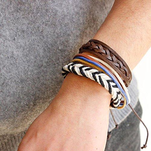 Teresamoon Women Fashion Handmade PU Leather Bracelet (F)