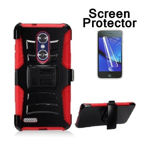 [ZTE Blade X Max (Cricket Wireless) Case, Phone case for Walmart Family Mobile ZTE ZMAX PRO/ ZTE ZMax Pro Case, Screen Protector + Dual Layer Holster Belt Clip Cover with Kickstand (Red)] (Wal Mart Cell Phone Cases)