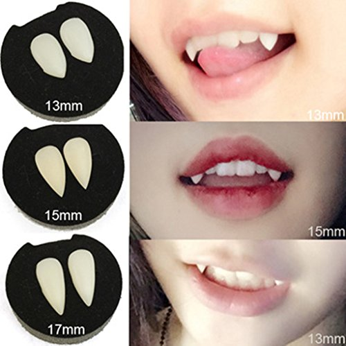 3 Pairs Vampire Halloween Fasle Teeth Fangs Dentures Cosplay Props Halloween Costume Props Party Favors (3pack)