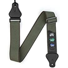 BestSounds Guitar Strap with 3 Pick Holders 100% Soft Cotton Strap For Bass Electric & Acoustic Guitars (Dark Green)