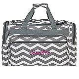 Personalized Grey Chevron Weekender Duffle Bag 22 Inch