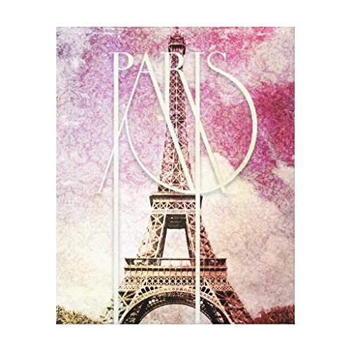 Girly pink purple damask Eiffel Tower Paris Canvas Wall Art For Home Decoration Wooden Framed 16