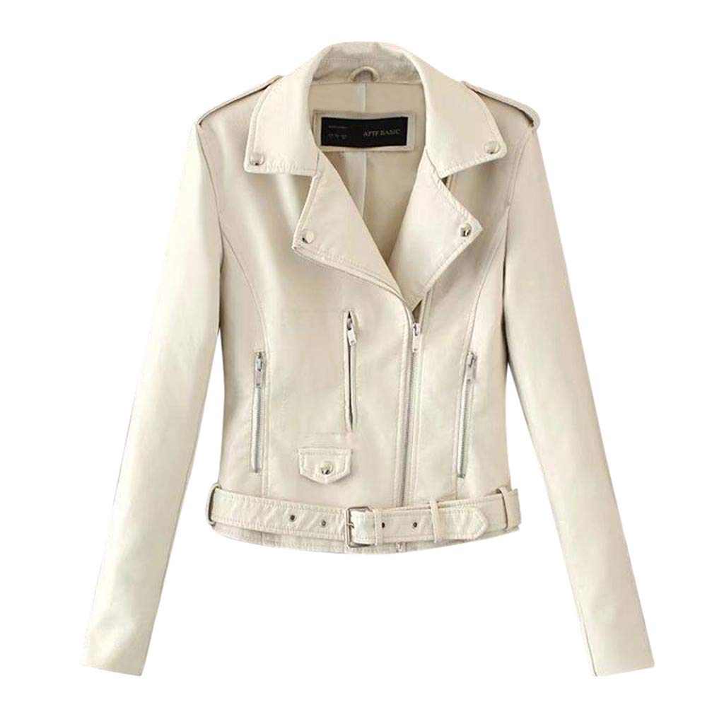 Ultramall Tops Women Ladies Lapel Motor Jacket Coat Zip Biker Short Punk Cropped Tops White by Ultramall