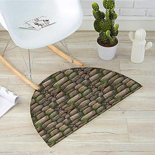 Nature Semicircle Doormat Stones Covered with Moss Rock Formation Forest Peaceful Meditation Theme Halfmoon doormats H 31.5