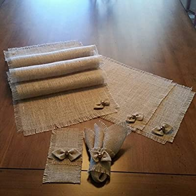 Burlap Shabby Chic Table Runners, Placemats, Silverware Holders and Napkin Rings with Handmade Bow-tie Accent (Set of 4 or 6)