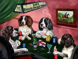 Home of English Springer Spaniels 4 Dogs Playing Poker Art Portrait Print Woven Throw Sherpa Plush Fleece Blanket (37x57 Sherpa)