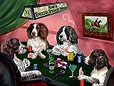 Home of English Springer Spaniels 4 Dogs Playing Poker Art Portrait Print Woven Throw Sherpa Plush Fleece Blanket (60x80 Fleece)