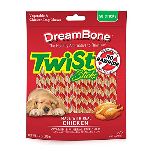 Dreambone Twist Sticks, Rawhide-Free Chews For Dogs, With Real Chicken, 50-Count ()