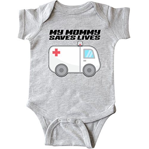 inktastic My Mommy Saves Lives- Ambulance Infant Creeper 6 Months Heather Grey