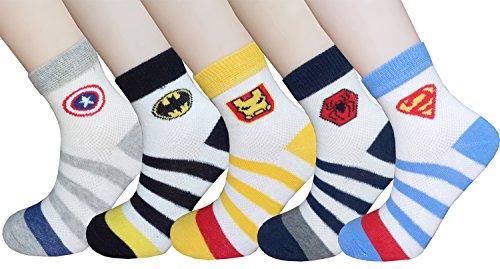 Searchself Little Boys' Cotton Stripe Breathable Mesh Thin socks 5 Pack (L, Hero)