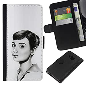 HTC One M7 , la tarjeta de Crédito Slots PU Funda de cuero Monedero caso cubierta de piel (Hepburn - Beautiful Drawing)