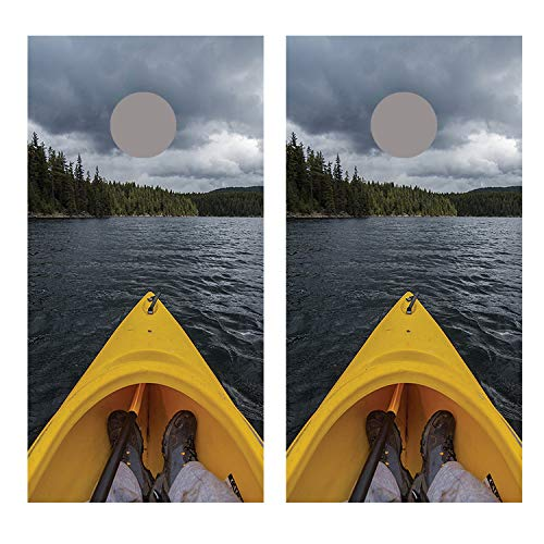 Let's Print Big Kayak On Lake コーンホールボードデカールラップ B07GDTVDCD