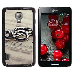 Be Good Phone Accessory // Dura Cáscara cubierta Protectora Caso Carcasa Funda de Protección para LG Optimus L7 II P710 / L7X P714 // Music Metal Note