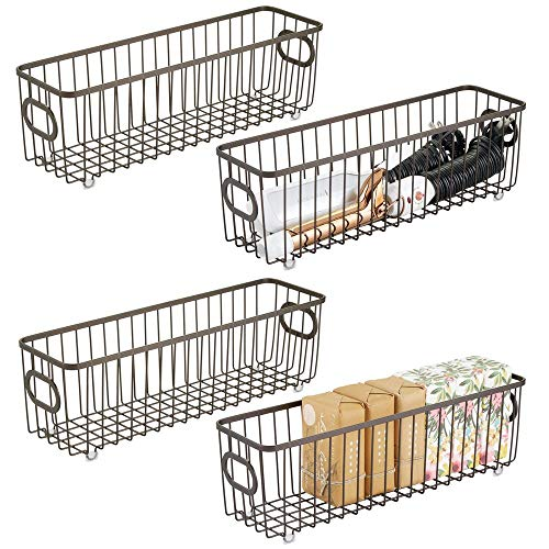 mDesign Metal Bathroom Storage Organizer Basket Bin - Farmhouse Wire Grid Design - for Cabinets, Shelves, Closets, Vanity Countertops, Bedrooms, Under Sinks - Long, 4 Pack - Bronze
