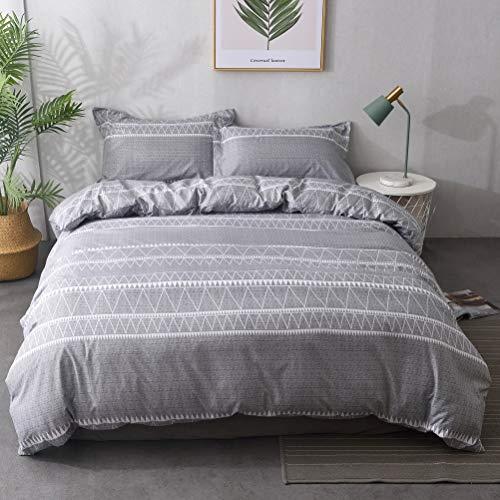 M&Meagle Bohemian Duvet Cover Grey,100% Lightweight Brushed Microfiber Bedding Set with Zipper & Corner Ties for Women & Men's Bedroom-Queen Size(3Pcs,1 Duvet Cover 2 Pillowcases)