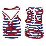 Water & Wood Pet Dog Red Anchor Pattern Sailor Apparel Tank Top Shirt S