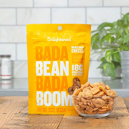 Bada Bean Bada Boom Plant-based Protein, Gluten Free, Vegan, Non-GMO, Soy Free, Kosher, Roasted Broad Fava Bean Snacks, Nacho Cheeze, 3 Ounce (6 Count)