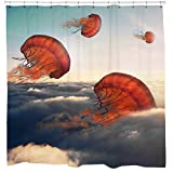 Unique Shower Curtains Jellyfish Flying in Clouds Shower Curtain Set Artsy Ocean Print Maritime Theme Blue Orange and Grey Bathroom Decor Hooks Included
