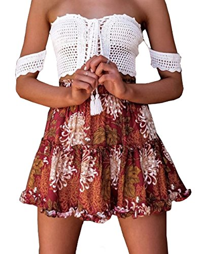 Gogoboi Women Chiffon Floral Printed Pleated Mini Skirts for Summer (XL, C)