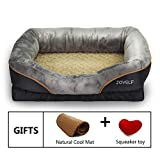 JOYELF Large Memory Foam Dog Bed - Orthopedic Dog Beds & Sofa with Removeble Rattan Cooling Liner and Squeaker Toys