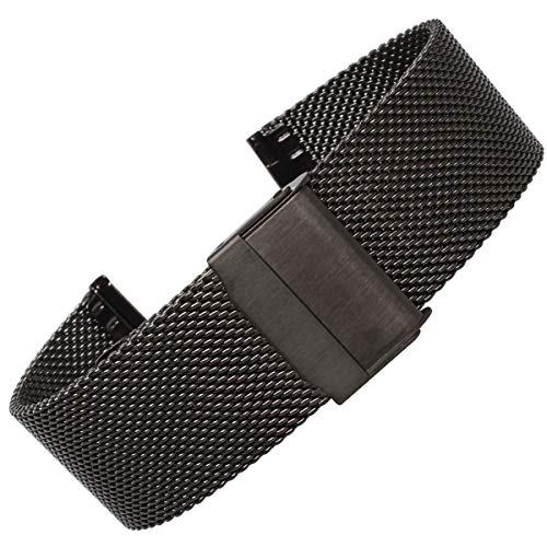 Weelovee Milanese Mesh Stainless Steel Watch Band 20mm Safety Clasp Watch Strap Wristband for Mens Women Adjustable Length Black (20mm, Black)