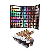 Fenteer Gama de Colores Paleta de Sombras de Ojos en Polvo + 9 Piezas Cepillos Cosméticos de Ojos Labios Fudación