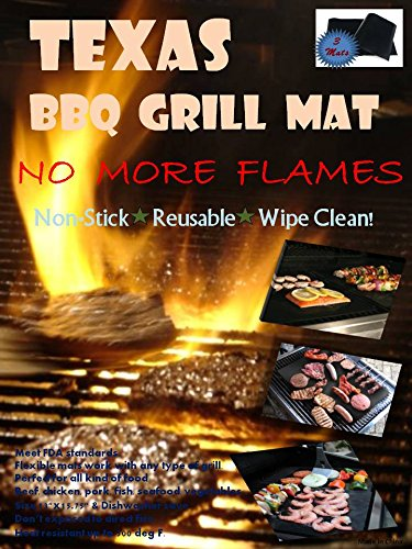 Set of 3 Mats - TEXAS BBQ Grill Mat - As Seen On TV! PFOA-Free - Compare to Yoshi and Miracle BBQ Grill Mat