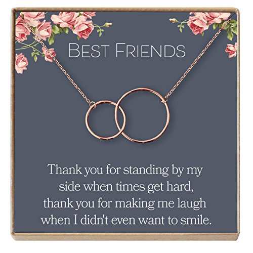 Dear Ava Best Friend Necklace: BFF Necklace, Jewelry, Long Distance, Quotes, Friends Forever, 2 Interlocking Circles (rose-gold-plated-brass, (Ava Jewelry Box)