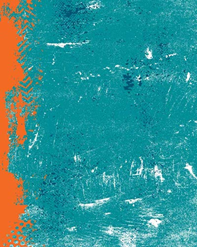 Notebook Miami - Aqua Orange And Blue: (8 x 10 Lined) Blank Grunge Team Color Notebook College Ruled