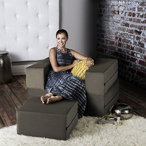 (Jaxx Zipline Convertible Sleeper Futon Chair & Ottoman with Machine-Washable Cover,)