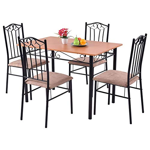 Sets Dinette Shipping Free - Tangkula Dining Table Set 5 Piece Home Kitchen Dining Room Wood Top Table and Chairs Breaksfast Furniture (Black 003)