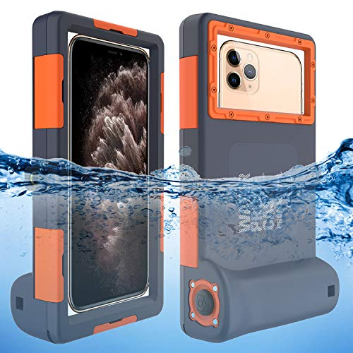 Willbox Professional [15m/50ft] Diving Surfing Swimming Snorkeling Photo Video Waterproof Protective Case Underwater Housing for Galaxy and iPhone Series Smartphones with Lanyard (Orange) from Willbox