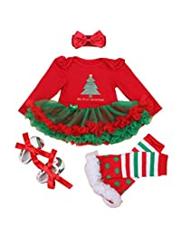 4pcs Baby Girls Christamas Tutu Dress Headband Baby Shoes Cotton Outfit Sets, M