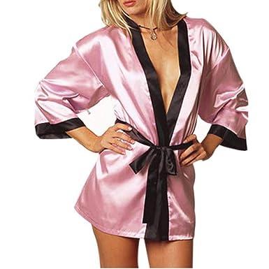 GLOGLOW Bata de Noche erótica, Bata de Noche de lencería Sexy de Babydolls de Seda para Mujer(Rosa): Amazon.es: Ropa y accesorios