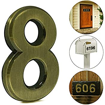 iMustech Mailbox Numbers, 2 pcs Solid Self-stick Number 8 for Mailbox, Door, Apartment, Hotel, 2-3/4 Inch, 3D Metal Brass