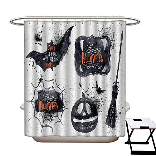 homecoco Vintage Halloween Mildew Resistant Shower Curtain Liner Halloween Symbols Happy Holiday Witch Lives Here Broomstick Spider Web Water Repellent & Stain Resistant Black -
