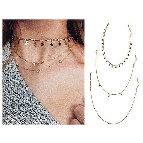 Wowanoo Choker Necklace Set Multilayer Layers Stars Chain Clavicle Necklace Jewelry for Women ThreeG
