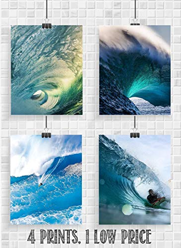 Contemporary Pieces 8 (Surfing Lovers Monster Wave Set- 4 Piece Art Image Set of 8 x 10 Prints Ready to Frame. Modern Home Décor, Office Décor & Wall Prints for Beach, Ocean and Surfing Themed Decor. Makes a Perfect Gift!)