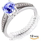 Ring Size Adjuster for Loose Rings - Jewelry Guard, Spacer, Sizer, Fitter - 12 Pack, 2 Sizes - Spiral Silicone Tightener Set with Polishing Cloth