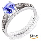 Ring Size Adjuster for Loose Rings – Ring Guard, Ring Sizer. 12 Pack with Jewelry Polishing Cloth. 2 Sizes Fit Almost ANY Ring. 100% Hypoallergenic.
