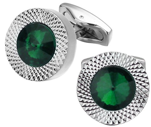 Swarovski Crystal Stone (Emerald Green Swarovski Crystal Gem Stone Mens Gift Cuff links by CUFFLINKS DIRECT (Cufflinks With Gift Box))