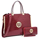 Womens Handbags & Purse Ladies Designer Satchel Tote Bag Shoulder Bags~Fashion Women handbag~Top handle Satchel purse (10-6900-W-Wine Red)