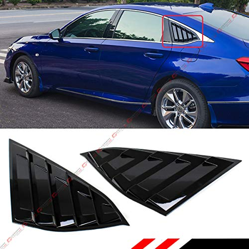 Cuztom Tuning Fits for 2018-2019 Honda Accord Gloss Black JDM Style 1/4 Quarter Panel Rear Side Window Louver Vent Shade