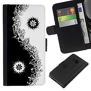 HTC One M7 Modelo colorido cuero carpeta tirón caso cubierta piel Holster Funda protección - Black Yin Yang Floral Minimalist