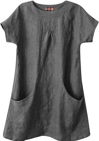 SEWORLD Camiseta de Mujer Casual Solid Cuello Redondo Manga Corta Lino Bolsillo Suelto Tops Blusa(Gris, Rojo, Café, Negro, S, M, L, XL, XXL, XXXL, XXXXL, XXXXXL): Amazon.es: Ropa y accesorios