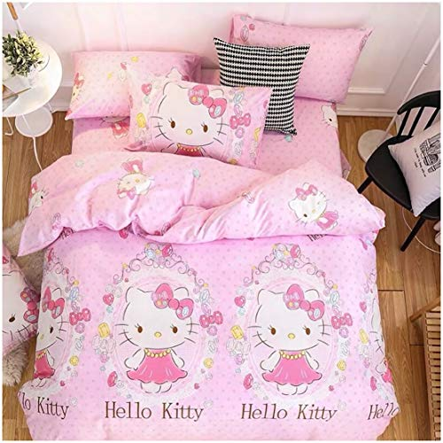 - Peachy Baby Featuring Hello Kitty Bedding Sheet Set 100% Cotton Single Queen King Size【Free Express Shipping】 3 and 4 Pieces Pink Cute Cartoon Animate Girly (Queen)